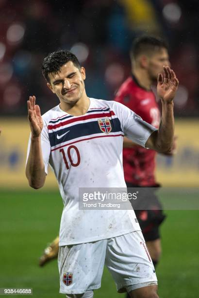 Tarik Elyounoussi of Norway during International friendly match between Albania and Norway on March 26 2018 at Elbasan Arena in Elbasan Albania