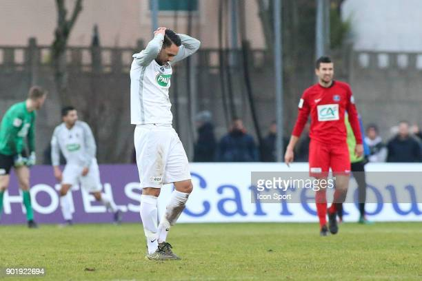 Tarik Kharouni of Houilles looks dejected during the french National Cup match between Houilles and Concarneau on January 6 2018 in Houilles France
