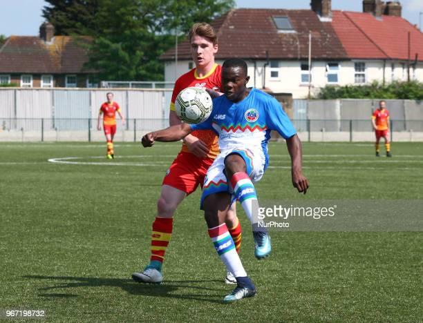 Tarik Kwon of Barrawa during Conifa Paddy Power World Football Cup 2018 Group A match between Barawa against Ellan Vannin at Coles Park Stadium...