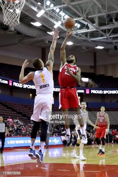 Tarik Phillip of the Memphis Hustle shoots a running jumper against the Salt Lake City Stars during an NBA GLeague game on February 20 2019 at...