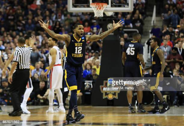 Tarik Phillip of the West Virginia Mountaineers reacts in the second half against the Gonzaga Bulldogs during the 2017 NCAA Men's Basketball...