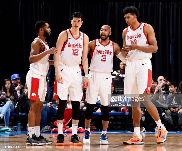 Tarik Phillip Yuta Watanabe Jevon Carter and Doral Moore of the Memphis Hustle look on during the game against the Agua Caliente Clippers during the...