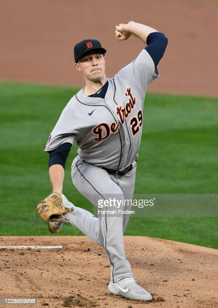 Tarik Skubal of the Detroit Tigers delivers a pitch against the Minnesota Twins during the first inning of the game at Target Field on September 22...