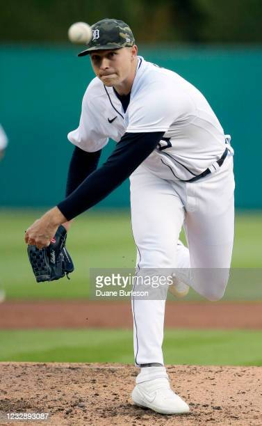 Tarik Skubal of the Detroit Tigers pitches against the Chicago Cubs during the third inning at Comerica Park on May 14, 2021 in Detroit, Michigan.