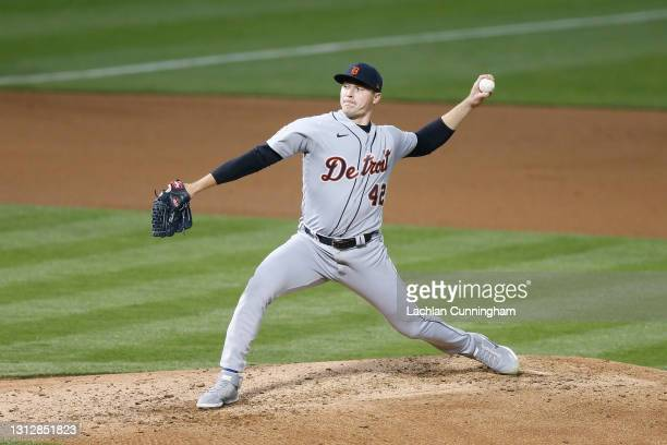 Tarik Skubal of the Detroit Tigers pitches against the Oakland Athletics at RingCentral Coliseum on April 15, 2021 in Oakland, California. All...