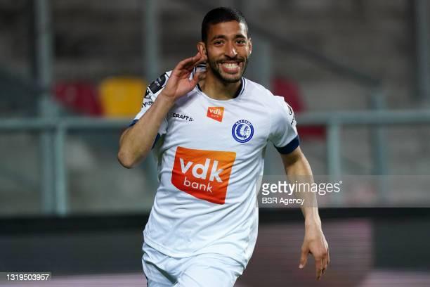Tarik Tissoudail of KAA Gent during the Belgian Jupiler Pro League match between KV Mechelen and KAA Gent at AFAS Stadion on May 22, 2021 in...