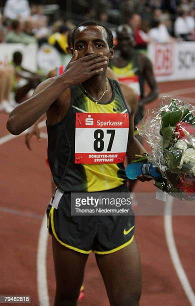 Tariku Bekele of Ethiopia celebrates after the 3000 meters during the Sparkassen Cup 2008 at the Hanns-Martin Schleyer Hall on February 2, 2008 in...