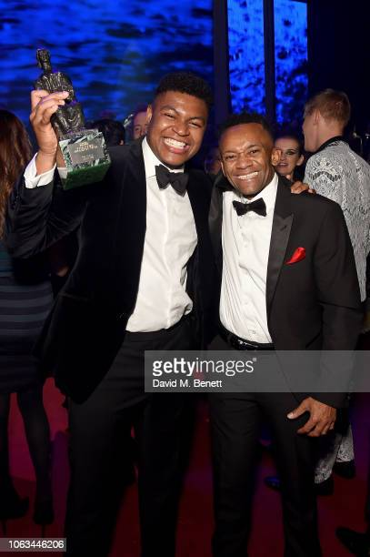 Tarinn Callender and Jason Pennycooke attend The 64th Evening Standard Theatre Awards after party at the Theatre Royal Drury Lane on November 18 2018...
