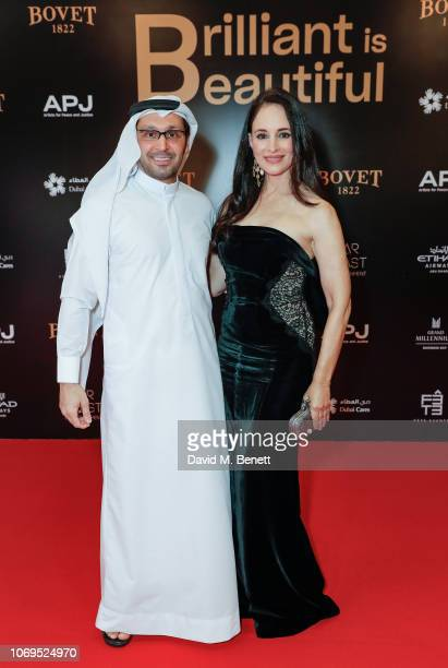 Tariq Al Gurg and Madeleine Stowe attend the Artists for Peace and Justice Bovet 1822 Gala on December 7 2018 in Dubai United Arab Emirates Photo by...