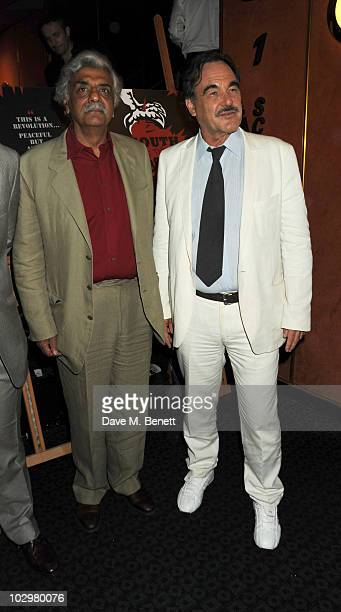 Tariq Ali and Oliver Stone attend the UK Premiere of 'South Of The Border' at The Curzon Mayfair on July 19 2010 in London England