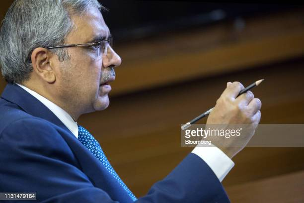 Tariq Bajwa governor of the State Bank of Pakistan speaks during a Bloomberg Television interview at the Bloomberg Pakistan Economic Forum in Karachi...