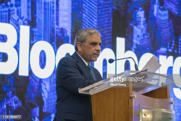 Tariq Bajwa governor of the State Bank of Pakistan speaks during the Bloomberg Pakistan Economic Forum in Karachi Pakistan on Monday March 18 2019...