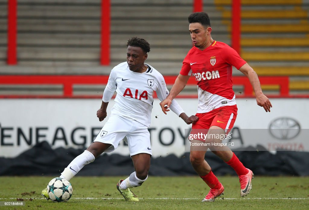 Tariq Hinds of Tottenham Hotspur controls the ball at The Lamex Stadium on February 21, 2018 in Stevenage, England.