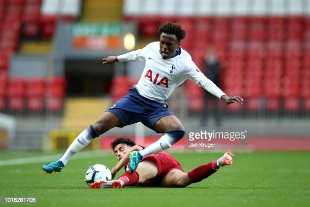 Tariq Hinds of Tottenham Hotspur is tackled by Curtis Jones of Liverpool during the Premier League 2 match between Liverpool at Tottenham Hotspur at...