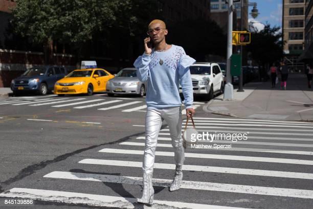 Tariq is seen attending Son Jung Wan during New York Fashion Week wearing Louis Vuitton HM Fendi Public Desire on September 9 2017 in New York City