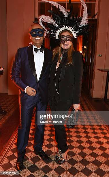 Tariq Khan and Eva Cavalli attend Eva Cavalli's birthday dinner party at One Mayfair on October 9 2015 in London England