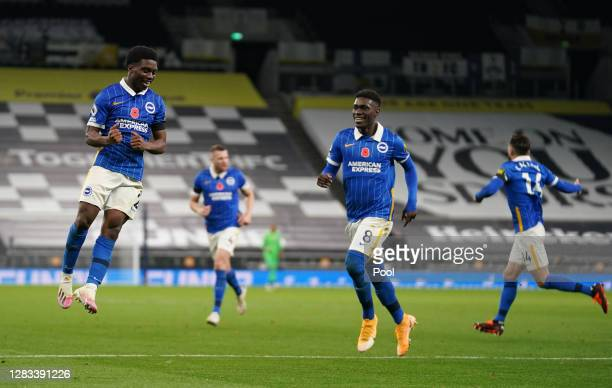 Tariq Lamptey of Brighton and Hove Albion celebrates after scoring his sides first goal during the Premier League match between Tottenham Hotspur and...