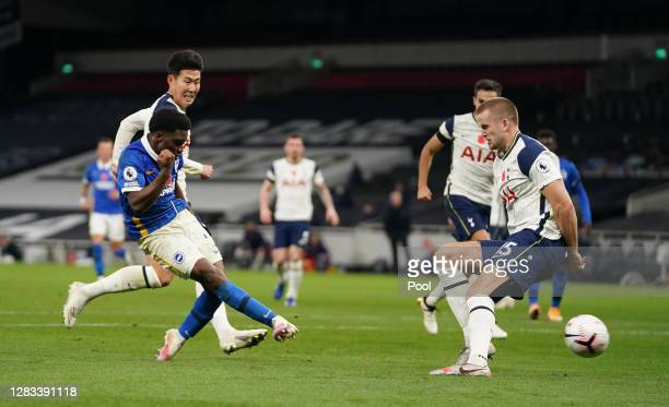 Tariq Lamptey of Brighton and Hove Albion scores his sides first goal during the Premier League match between Tottenham Hotspur and Brighton & Hove...