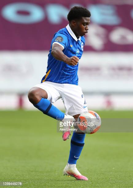 Tariq Lamptey of Brighton Hove Albion controls the ball during the Premier League match between Burnley FC and Brighton Hove Albion at Turf Moor on...