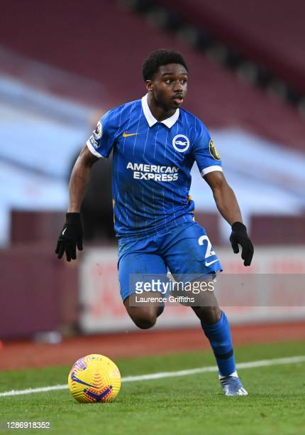 Tariq Lamptey of Brighton & Hove Albion runs with the ball during the Premier League match between Aston Villa and Brighton & Hove Albion at Villa...