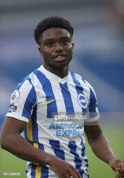 Tariq Lamptey of Brighton & Hove Albion trains on the pitch after the Premier League match between Brighton & Hove Albion and Leicester City at...