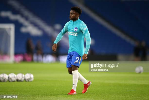 Tariq Lamptey of Brighton & Hove Albion warms up prior to the Carabao Cup Third Round match between Brighton & Hove Albion and Swansea City at...