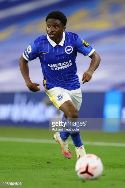 Tariq Lamptey of Brighton in action during the Premier League match between Brighton & Hove Albion and Chelsea at American Express Community Stadium...