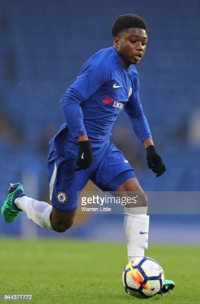 Tariq Lamptey of Chelsea in action during the FA Youth Cup semifinal second leg match between Chelsea and Birmingham City at Stamford Bridge on April...