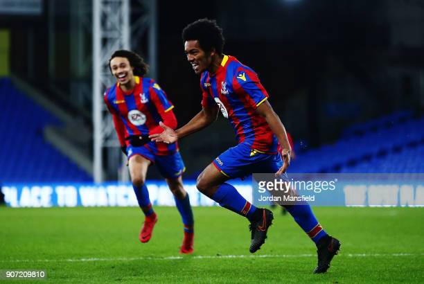 Tariq Ossai of Crystal Palace celebrates scoring his sides second goal during the FA Youth Cup Fourth Round match between Crystal Palace and...