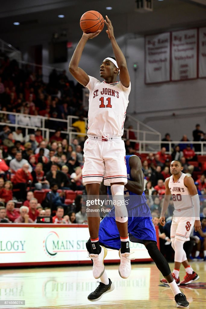 Tariq Owens #11 of St. John's attempts a jump shot against New Orleans during an NCAA basketball game at Carnesecca Arena on November 10, 2017 in the Jamaica neighborhood of the Queens borough of New York City.