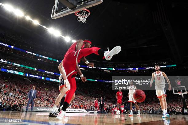 Tariq Owens of the Texas Tech Red Raiders celebrates a dunk against the Virginia Cavaliers in the first half during the 2019 NCAA men's Final Four...