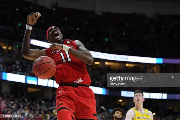 Tariq Owens of the Texas Tech Red Raiders celebrates after a dunk against the Michigan Wolverines during the 2019 NCAA Men's Basketball Tournament...