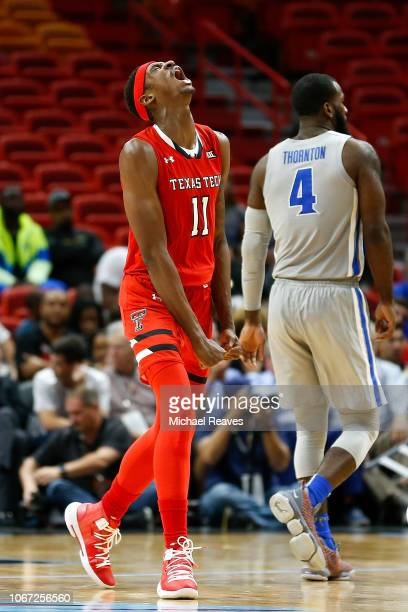 Tariq Owens of the Texas Tech Red Raiders reacts against the Memphis Tigers during the second half of the HoopHall Miami Invitational at American...