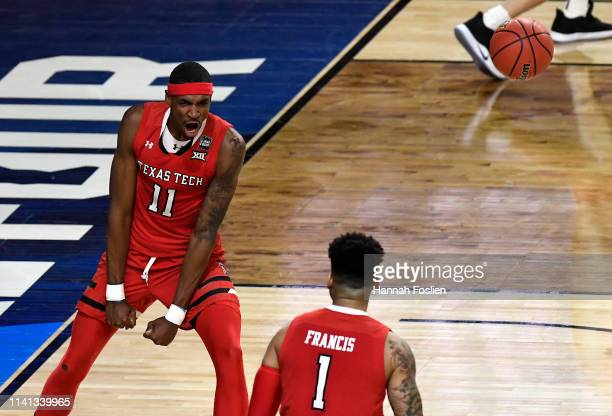 Tariq Owens of the Texas Tech Red Raiders reacts against the Virginia Cavaliers in the first half during the 2019 NCAA men's Final Four National...