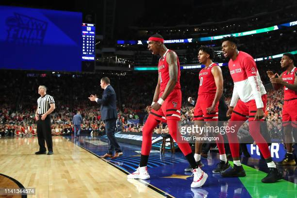 Tariq Owens of the Texas Tech Red Raiders reacts against the Virginia Cavaliers in the second half during the 2019 NCAA men's Final Four National...