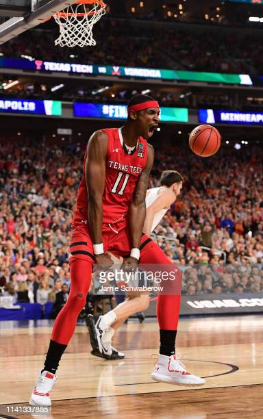 Tariq Owens of the Texas Tech Red Raiders reacts to a dunk during the first half in the 2019 NCAA Photos via Getty Images men's Final Four National...