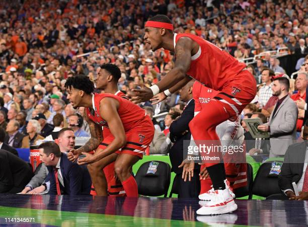 Tariq Owens of the Texas Tech Red Raiders reacts to a play against the Virginia Cavaliers during the second half of the 2019 NCAA men's Final Four...