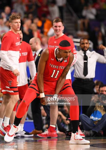 Tariq Owens of the Texas Tech Red Raiders reacts to a play during the second half of the game against the Virginia Cavaliers in the 2019 NCAA Photos...