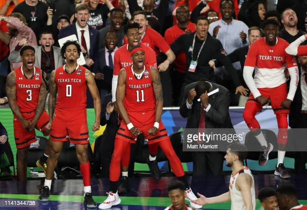 Tariq Owens of the Texas Tech Red Raiders reacts to a play during the second half of the game against the Virginia Cavaliers in the 2019 NCAA men's...