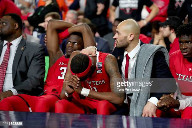 Tariq Owens of the Texas Tech Red Raiders reacts to his teams deficit late in the game against the Virginia Cavaliers during the 2019 NCAA men's...