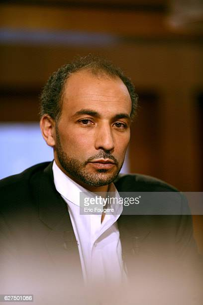 Tariq Ramadan on the set of TV show 'Culture et Dependance'