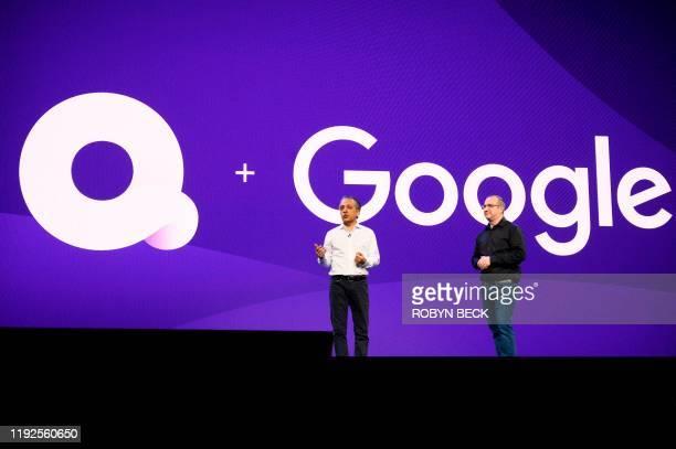 Tariq Shaukat of Google Cloud Platform and Rob Post Quibi chief technology officer speak at the Quibi keynote address January 8 2020 at the 2020...