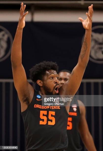 Tariq Silver of the Oregon State Beavers reacts against the Oklahoma State Cowboys during the second half in the second round game of the 2021 NCAA...