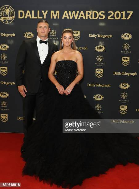 Tariq Sims and Ashleigh Sims arrive ahead of the 2017 Dally M Awards at The Star on September 27 2017 in Sydney Australia