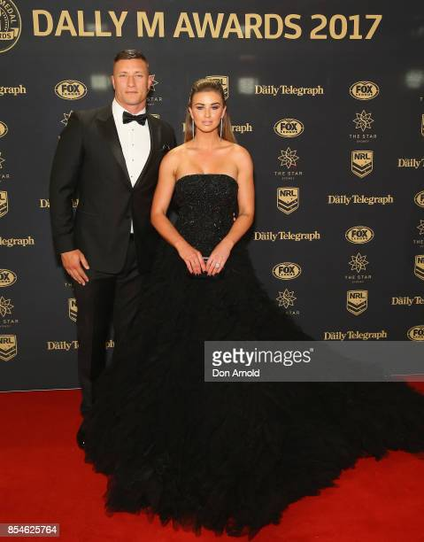 Tariq Sims and Ashleigh Sims arrive ahead of the Dally M Awards at The Star on September 27 2017 in Sydney Australia