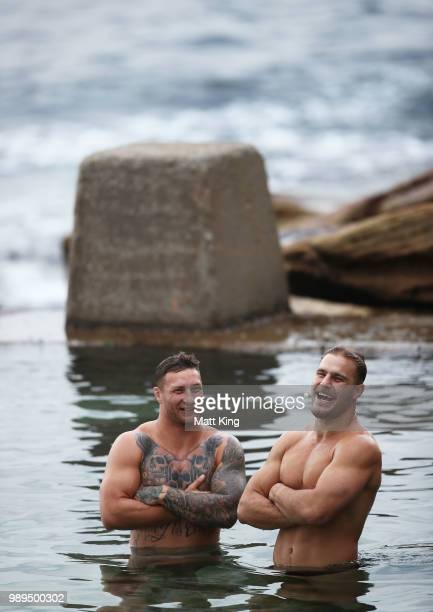 Tariq Sims and Jack de Belin swim during a New South Wales Blues State of Origin Recovery Session at Coogee Beach on July 2, 2018 in Sydney,...