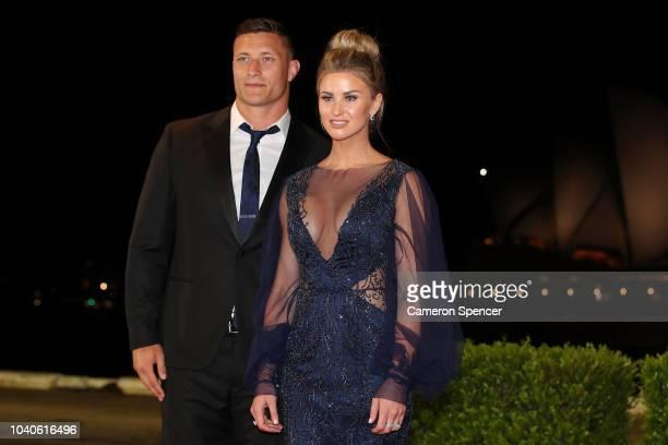 Tariq Sims and partner Ashleigh Sudholz arrive at the 2018 Dally M Awards at Overseas Passenger Terminal on September 26 2018 in Sydney Australia