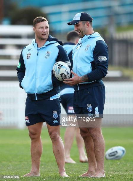 Tariq Sims and Paul Vaughan walk in bare feet during a New South Wales Blues State of Origin Recovery Session at Coogee Oval on July 2 2018 in Sydney...