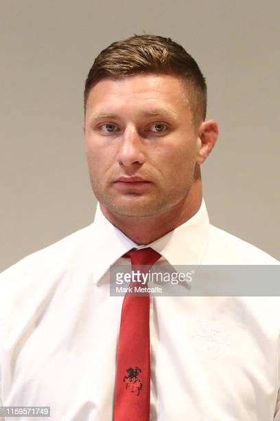Tariq Sims arrives at his NRL Judiciary Hearing at Rugby League Central on July 02, 2019 in Sydney, Australia.