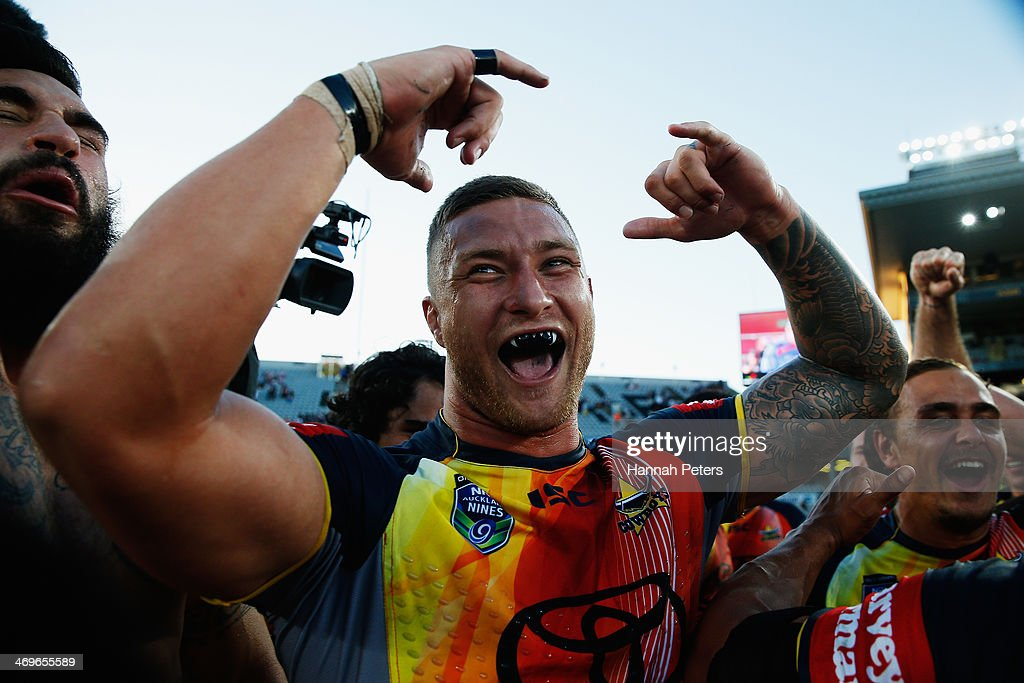 Tariq Sims of the Cowboys celebrates after winning the grand final match between the Brisbane Broncos and the north Queensland Cowboys in the Auckland NRL Nines at Eden Park on February 16, 2014 in Auckland, New Zealand.